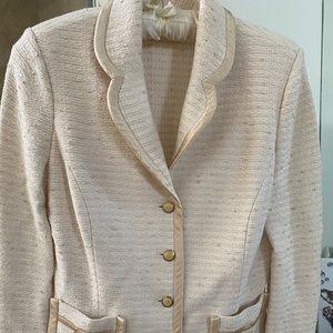 St. John Collection white knit blazer